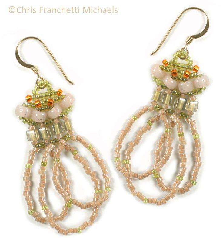 Right-Angle Weave Beaded Earrings Pattern - GoldenPink
