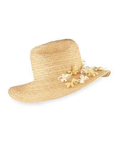 Yestadt Millinery Buttercup Western Straw Fedora Hat w/ Flower, Natural