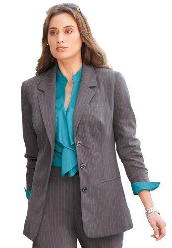 Jessica London Plus Size Nassau Blazer in Pinstripe