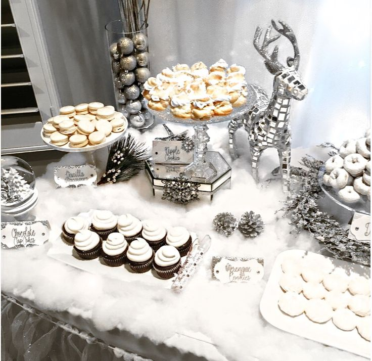Winter Wonderland dessert table, winter wonderland, white elephant party, white Christmas, all white party, winter theme, holiday party