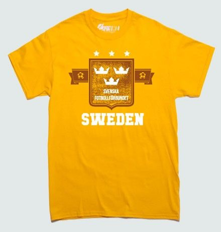 If you are rooting for Sweden, a.k.a. Allsvenskan, this year's FIFA World Cup then this original fan t-shirt is bound to please you. Show the world where your soccer and football allegiances lie with this awesome Sweden Allsvenskan Soccer fan T-Shirt. Also available in womens - ladies, get your fanwear here!  Professionally screenprinted for long-lasting wear and quality.