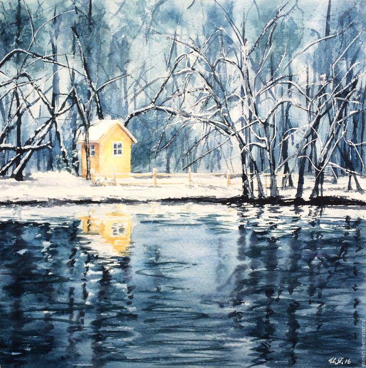 """Купить """"Зимний лес"""" диптих, акварель - голубой, морская волна, серия картин, картина акварелью"""