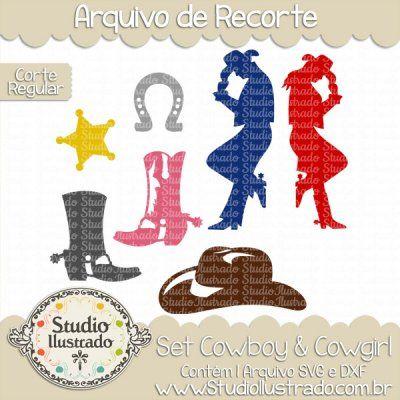 Cowboy e Cowgirl Set, Vaqueiro, Chapéu, Hat, Spurs, Esporas, Botas, Boots, Estrela, Star, Horseshoes, Ferradura, Corte Regular, Regular Cut, Silhouette, DXF, SVG, PNG