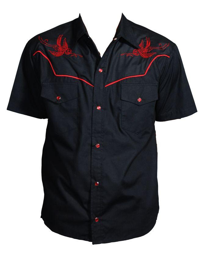 The Flying Dead Western Mens Rockabilly Shirt ~Thunder Birds
