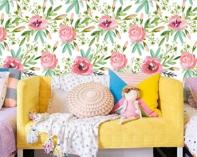 Etsy Your Place To Buy And Sell All Things Handmade Mural Wallpaper Baby Girl Nursery Wallpaper Removable Wallpaper