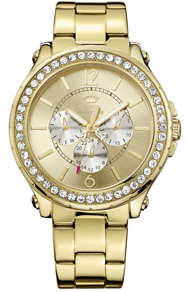 JUICY COUTURE Pedigree Crystals XLarge Multifunction Gold Stainless Steel 1901082 - E-oro.gr JUICY COUTURE ΓΥΝΑΙΚΕΙΑ ΡΟΛΟΓΙΑ