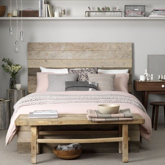 Tonal bedroom  Mix warm toned wood with cool grey walls for a pretty, natural look.