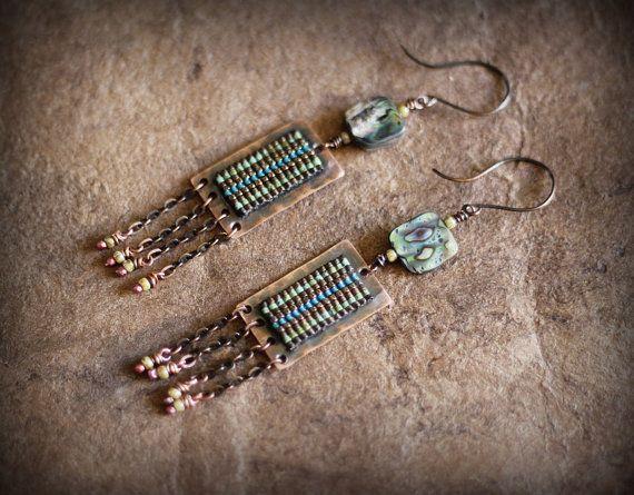 Rustic Tribal Earrings Long Chandeliers Ethnic by Triballa on Etsy