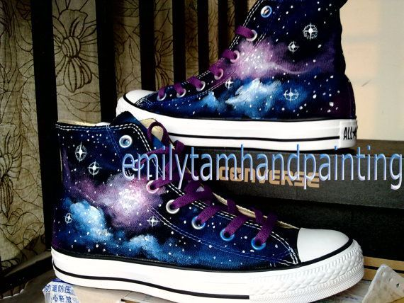 Galaxy Converse Sneakers Purple and Blue by EmilyTamHandPainting, $90.00