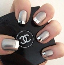 Chrome french tips - I'm imagining this in black with chrome tips