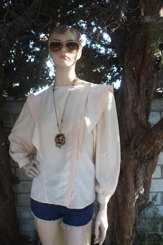 MANIC PICK! Vintage 80s CAP SLEEVE Blouse EMBROIDERED by ManicMondayBoutique, $27.00: