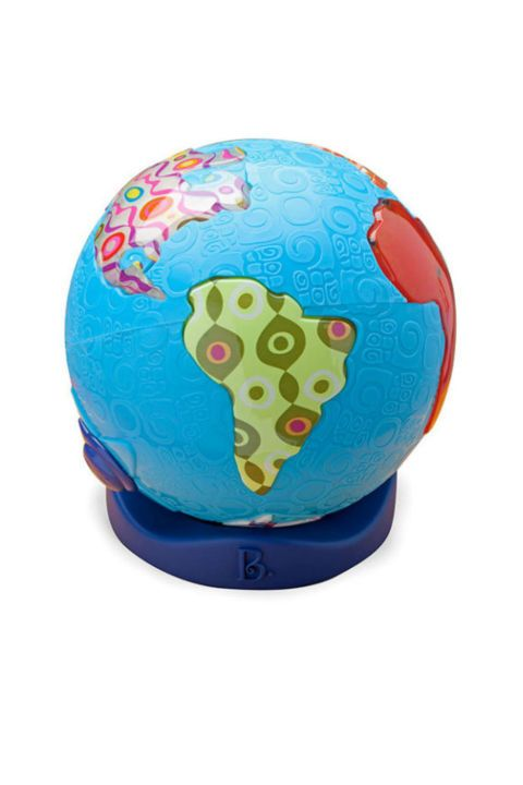 BUY NOW: $30, B. Global Glowball Musical Toy, amazon.com This interactive globe features 39 different songs from 7 different continents. Press a continent, and they'll hear authentic tunes from all over the world. When not it use, the globe can double as a night light.