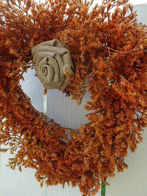 Heart Wreath  Autumn Wreath  Wedding Wreath  Coral Heart