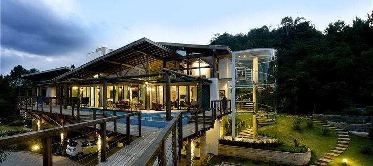 Decoração e Projetos – Fachadas de casas modernas com vidros