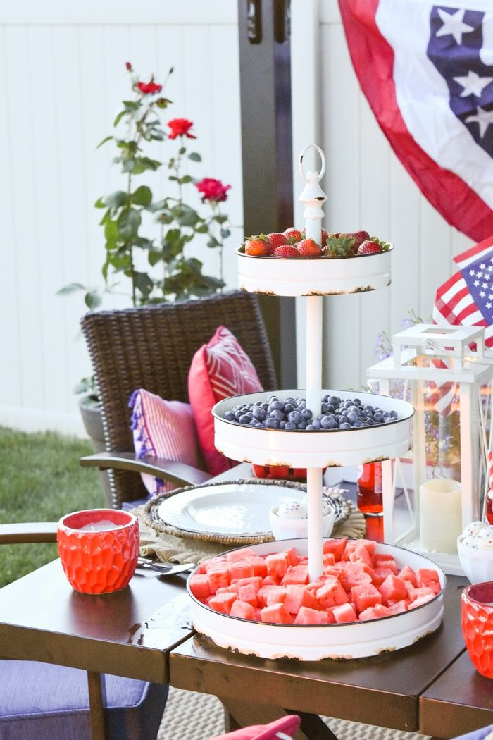 Kara's Party Ideas 4th of July Backyard Patio Barbeque | Kara's Party Ideas