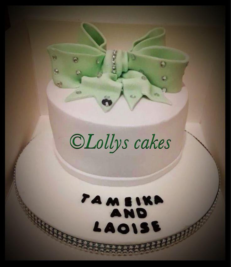 Lime green, jojo bow cake with added diamanté