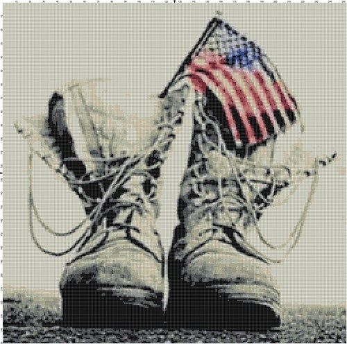 American Flag and Military Boots PDF Cross-Stitch Pattern
