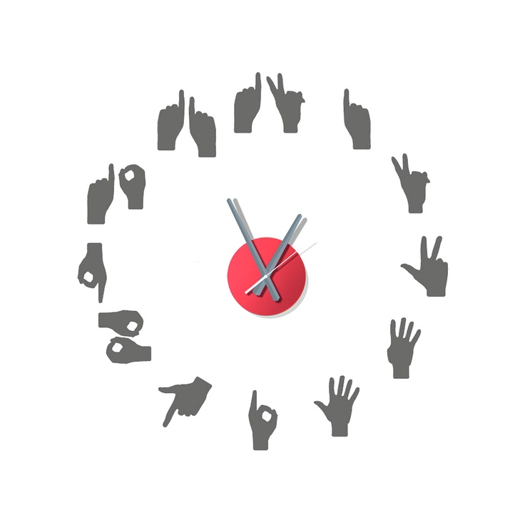 'Hand Signs' Wall Decals Clock.