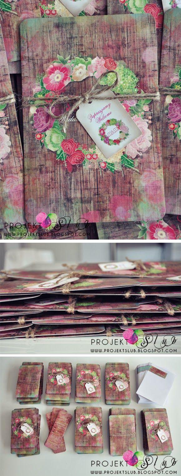 projekt ŚLUB - zaproszenia ślubne, oryginalne, nietypowe dekoracje i dodatki na wesele: Zaproszenia w stylu vintage z motywem kwiatów - We...
