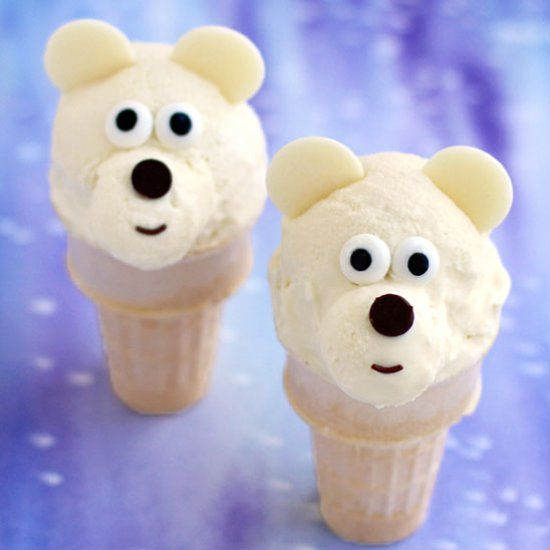 These Toasted Coconut Cheesecake Ice Cream Cone Polar Bears are as sweet as they look.