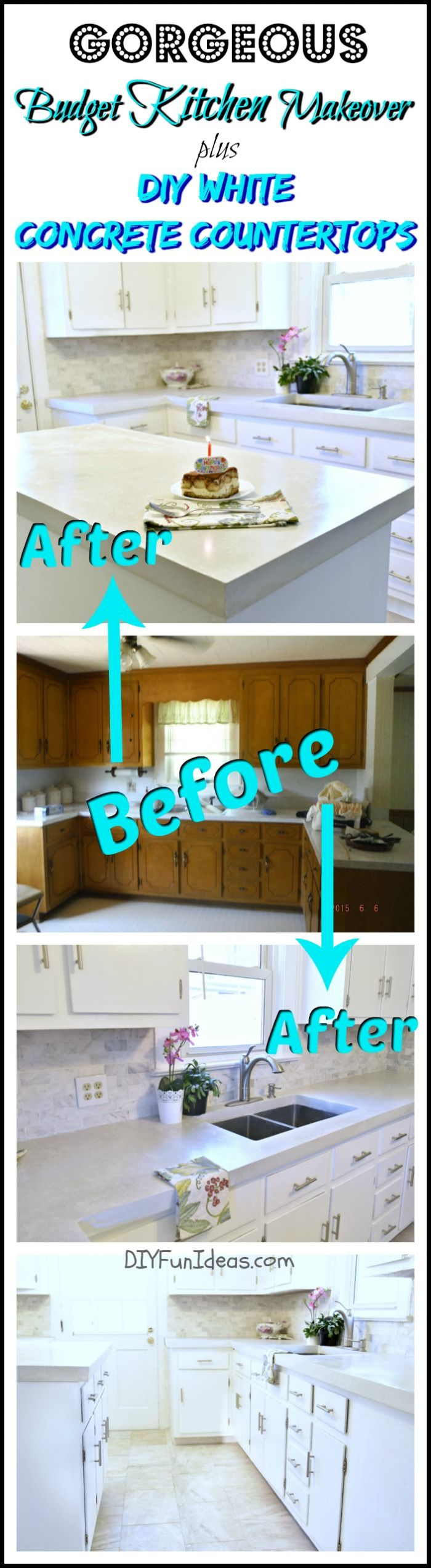 Transform your old kitchen. It's easy! Learn here how the cabinets were refinished for a beautiful high-end look on a low-end budget. Plus how to get beautiful DIY pour-in-place white concrete countertops and save thousands! .......one of the most popular pins