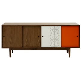 The Rowan collection takes its inspiration from the mid 20th Century furniture design. Practical and beautiful, the Rowan Sideboard has been enhanced by Kiely's signature Stem design perforated onto one of the four sliding doors, painted white, against a contrasting bold orange door