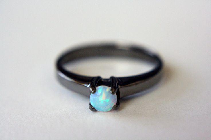 Opal Solitaire Ring in Black Rhodium by theBEAline on Etsy, $150.00
