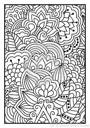 Modello Floreale Per Il Libro Da Colorare Illustrazione Vettoriale - Immagine: 59691570