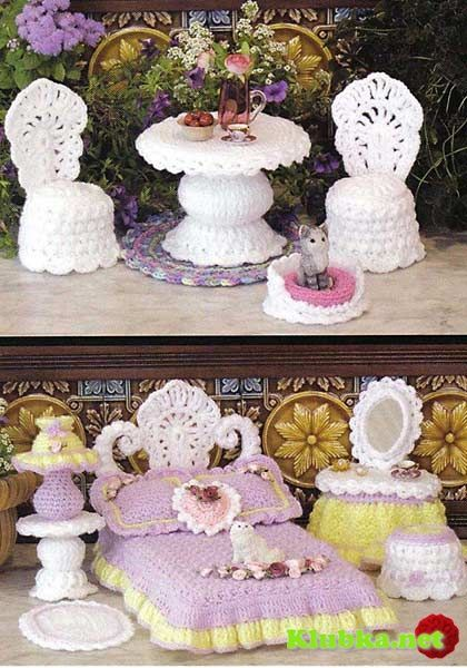 Openwork furniture for Barbie  LOVE BOTH SETS CAN YOU PLEASE SHARE THANK YOU