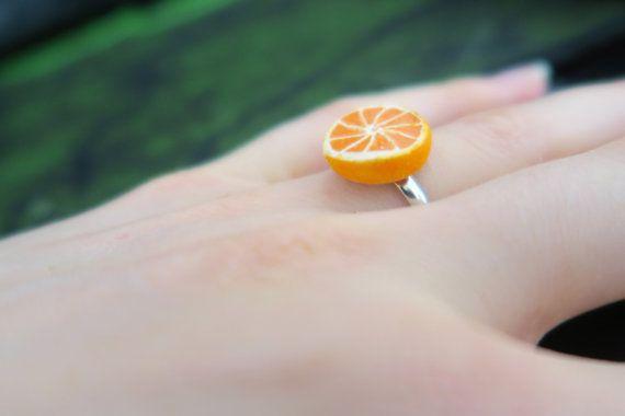 Orange Slice Ring - fruit jewelry - food jewelry, miniature food jewelru, fruit ring, orange ring