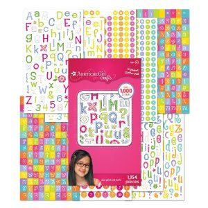 American Girl Crafts Sticker Pad, Alphabet by EK Success. $4.99. Make cards extra special by spelling out your friend's name or messages.. 10 sheets with different designs. Just peel and stick.. For Ages 8+. 1,154 pieces. From the Manufacturer                Use these alphabet stickers from American Girl Crafts to personalize journal entries, crafts and letters. 10 sheets with different designs. 1154 pieces.                                    Product Description             ...