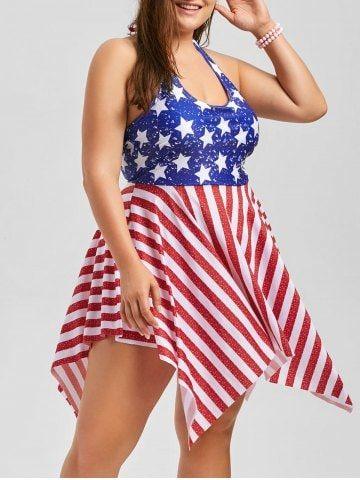 46a6c5e92fe57 Free shipping worldwide.Plus Size Patriotic American Flag Dressy Tankini  Set.  tankini  plussize  American Flag  summer