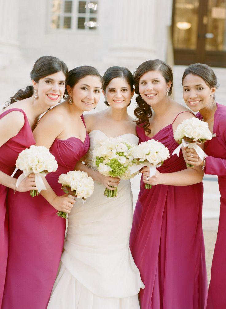 Bridesmaids - pretty berry color - Alvina Valenta  - See the wedding here: http://www.StyleMePretty.com/2014/05/19/washington-dc-art-museum-wedding/ #SMP - Photography: AbbyJiu.com
