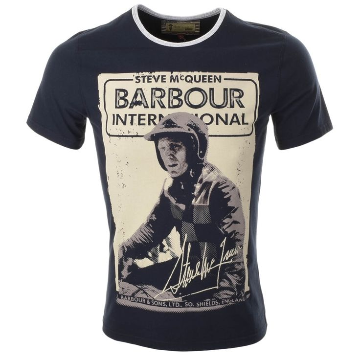 Barbour International Longley T Shirt In Navy, This t shirt is part of the Steve McQueen collection. A contrasting grey marl slim ribbed crew neckline with short sleeves. A large photographic image of Steve McQueen is printed on the front of the t shirt in grey, navy and yellow featuring the signature Barbour International Steve McQueen Logo at the top of the image in navy and grey. 100% Cotton. Brand New Collection Of Barbour T Shirts And Polo Shirts Live Online UK.