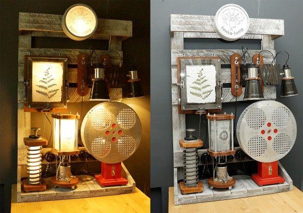 Выставочный стенд для ламп, собранный из паллет.