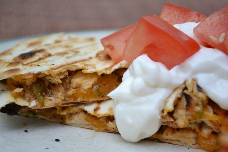 Grilled chicken quesadillas. A quick, easy, cheap appetizer or meal ...