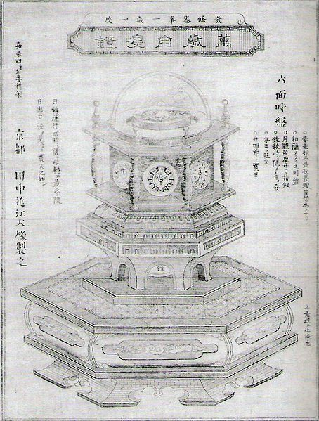 Designated as an important cultural asset by Japanese government. About a decade after the first Western mechanical clock was invented, Japanese inventor Hisashige Tanaka invented The Myriad Year Clock, also known as the Ten Thousand Year Self-Ringing Bell. This piece of the later Edo period is a sophisticated time coordination device and belongs to the category of Japanese clocks called Wadokei.