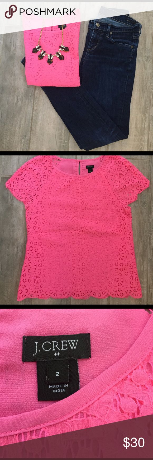 Hot pink scalloped top Hot pink lace perfect for spring & summer! Worn once; in perfect condition J. Crew Tops Tees - Short Sleeve
