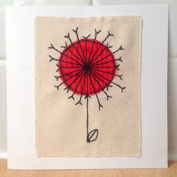 Dandelion Clock unframed wall art or greetings card, handmade stitched applique - can be personalised
