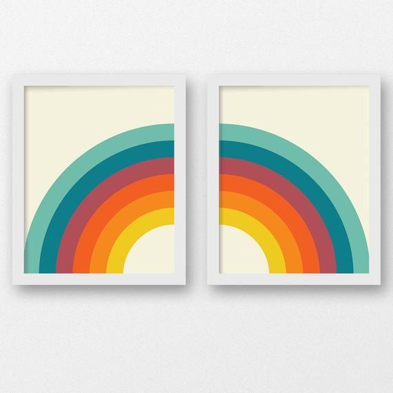 Rainbow Print Set Printable Rainbow Nursery Print Rainbow