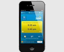 A smart phone displaying the SunSmart app
