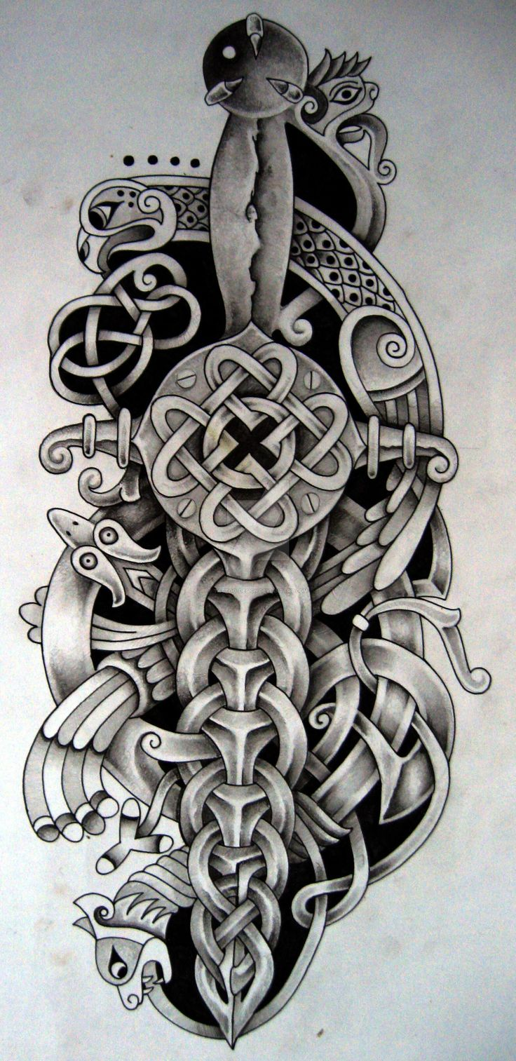 Celtic dagger and bird by Tattoo-Design.deviantart.com on @DeviantArt