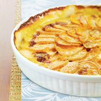 Sweet Potato Gratin - gluten free, low sodium, perfect for Thanksgiving or as a side dish for any meal.