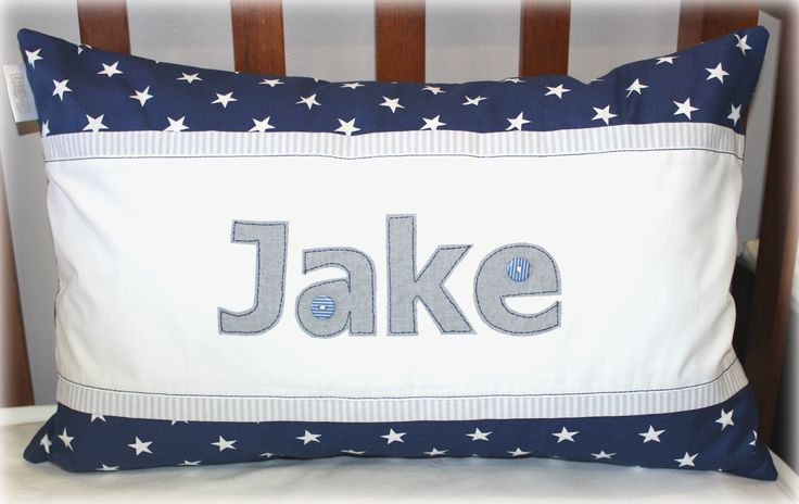 """Jake"" Personalised Name Scatter in navy, white & grey Designed by: Tula-tu Baby Linen www.tulatu.co.za"