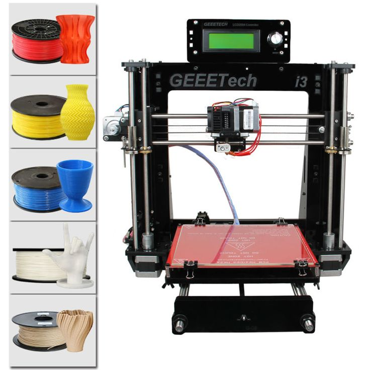 Print 5 materials Geeetech Reprap Prusa I3 Pro B 3D Printer MK8 shipped from USA - support ABS/ PLA/Flexible PLA/Wood/Nylon #printer #shipped #from #prusa #reprap #materials #geeetech #print