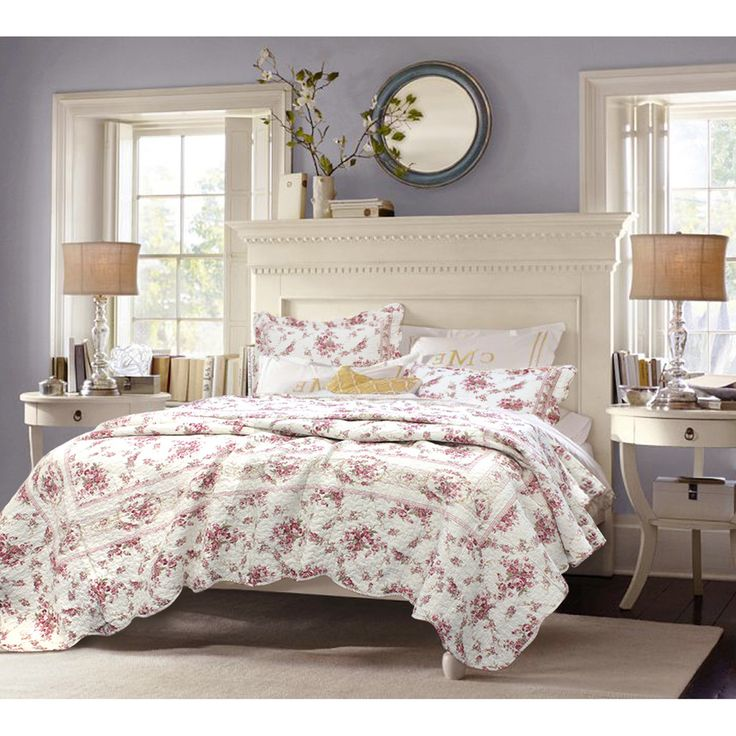 Give your bedroom a classic look with this rose-print quilt set from Shabby Chic. The rose pattern print is made up of deep rose and pink-toned burgundy colors that fits well with the bright wood finishes used on many traditional furnishings.
