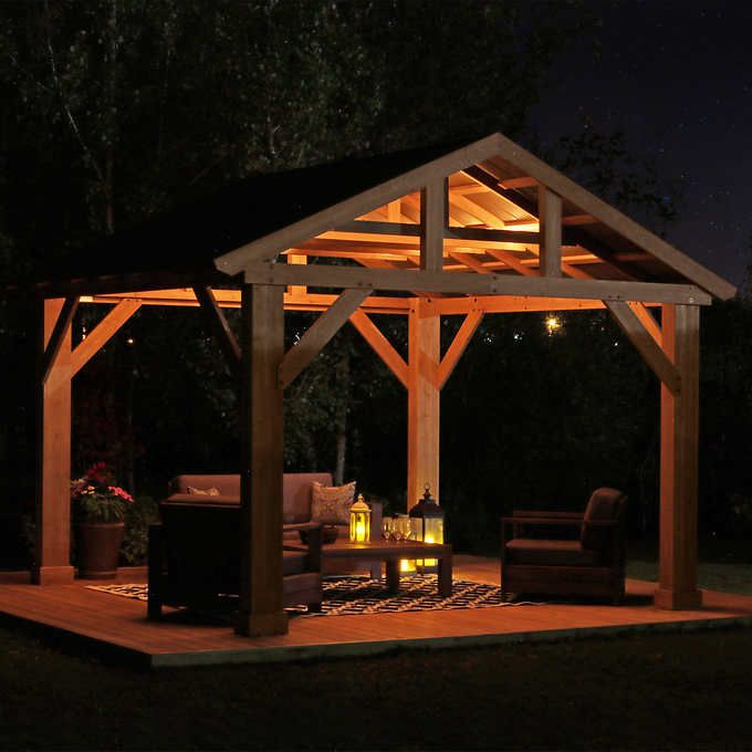 14 X 12 Cedar Pavilion With Aluminum Roof Outdoor Pergola Wooden Gazebo Outdoor Pavilion