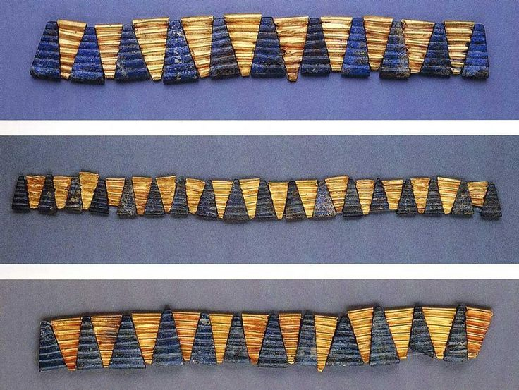 Gold and Lapis Lazuli Beads worn by Queen Pu'abi (of Ur, in Sumeria, c. 2500 BC) and her attendants.