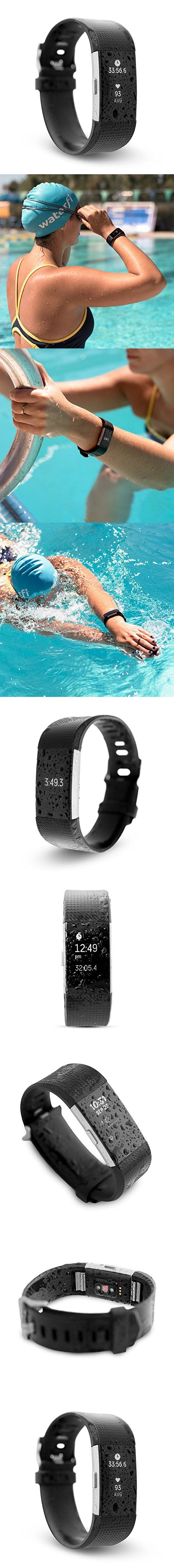 Waterfi Waterproof Fitbit Charge 2 - Silver/Black - Activity Tracker with Heart Rate Monitor (Large)