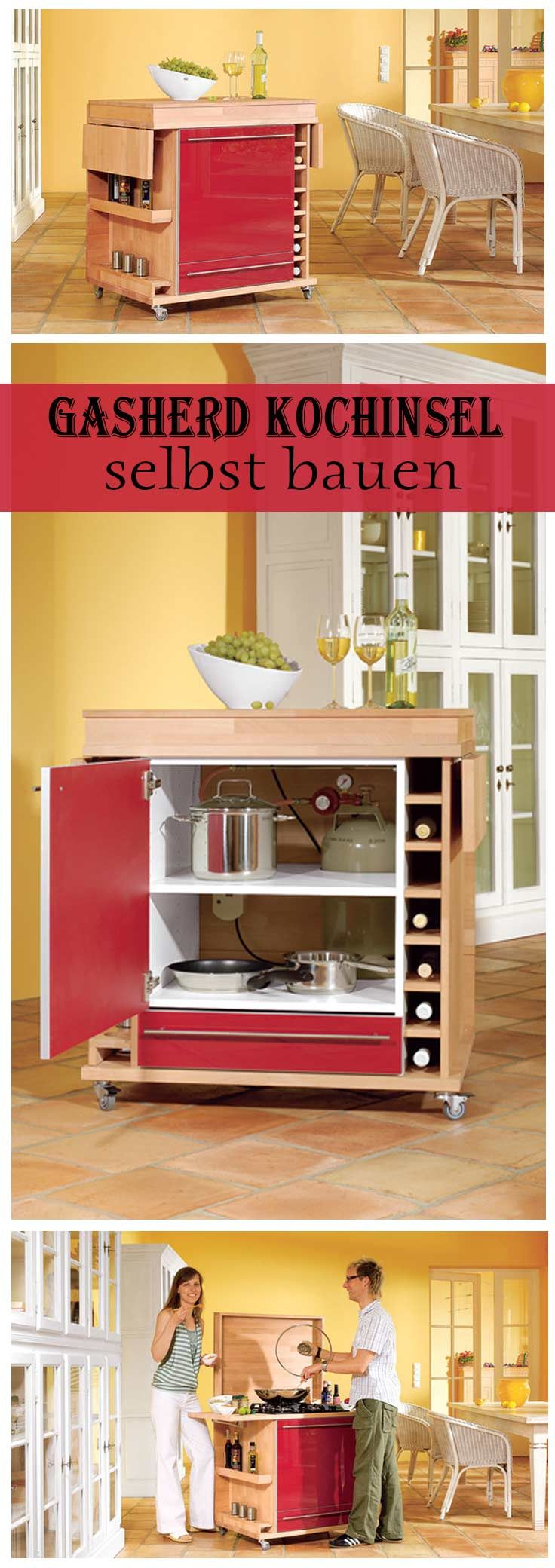 Mit einer mobilen Kochinsel kann man kochen, wo man will. Die Insel ist mit einem Gasherd ausgestattet – sowas gibt es nicht zu kaufen. Wir zeigen, wie man es selbst baut.